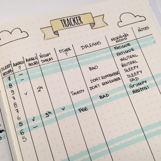 Bullet Journal - sleep tracker