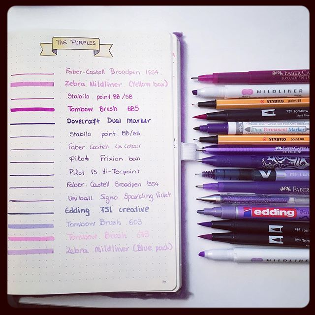 Purple Pens & Markers Swatches
